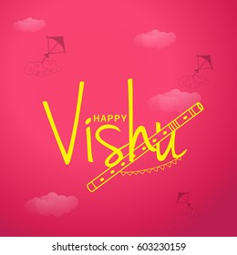 Beautiful Illustration of Happy Vishu Typography Design On Traditional Background.
