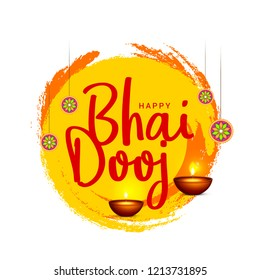 Beautiful illustration for indian festival of happy bhai dooj celebration.