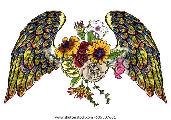 Rose wings   Angel wings tattoo, Wings tattoo, Wing tattoos on back