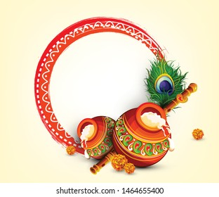 Beautiful Illustration of Lord Krishna, Abstract Wallpaper Design for Hindu Festival Shree Krishna Janmashtami.