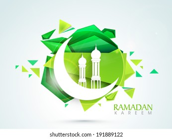 Beautiful illustration of mosque with crescent moon on creative green background for holy month of muslim community.