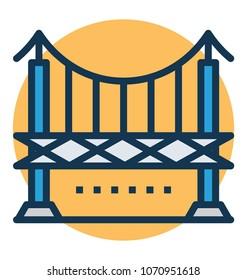 Beautiful illustration of Oakland Bridge, California Vector Icon