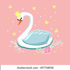 beautiful illustration of a swan. Print children's T-shirt for girls. Swan vector. Cartoon character swan. Swan on a pink background. Cute swan. White bird. Swan Princess. Swan. Swan illustration.