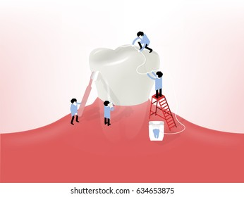 beautiful illustration vector of little dentists cleaning a giant tooth on gum, dental health design concept