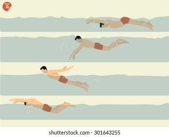 beautiful illustration vector of step to perform butterfly-stroke swimming, swimming design