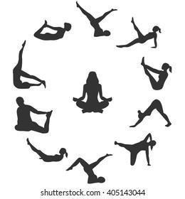 beautiful illustration of yoga girl, yoga poses, yoga woman on a beautiful background
