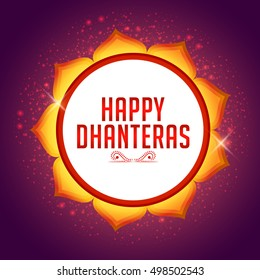 A beautiful illustration,poster or banne of indian dhanteras diwali festival celebration background.Happy dhanteras