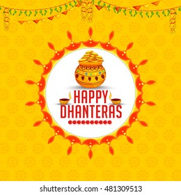 A beautiful illustration,poster or banner with decorated frame,pot filled with gold coins of indian dhanteras diwali festival celebration background.Happy dhanteras