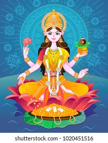 Beautiful Illustration,Poster Or Banner With Goddess Maa Laxmi Of Indian Dhanteras Festival Background.