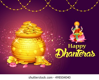 A beautiful illustration,poster or banner with goddess maa laxmi of indian dhanteras festival celebration background.Happy dhanteras