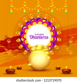A beautiful illustration,poster or banner with golden shiny pot filled with gold coins of indian dhanteras diwali festival celebration background. Shubh dhanteras.