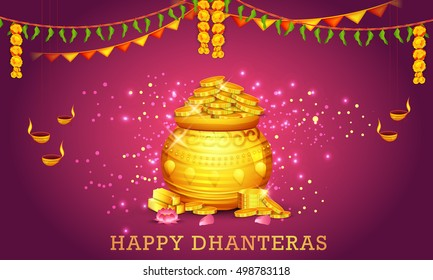 A beautiful illustration,poster or banner with golden shiny pot filled with gold coins of indian dhanteras diwali festival celebration background.Happy dhanteras