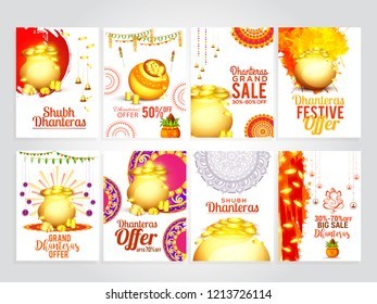 A beautiful illustration,poster or banner sets with golden shiny pot filled with gold coins of indian dhanteras diwali festival celebration background. Shubh dhanteras.