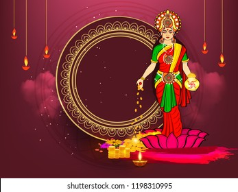 A Beautiful illustration,Sale poster or banner with Goddess Maa Lakshmi / Laxmi Charan for Indian dhanteras and diwali festival celebration Background with text of Happy Dhanteras super offer