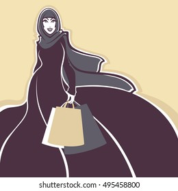 Beautiful Image Of Arabic Muslim Woman Doing Shopping Vector Illustration