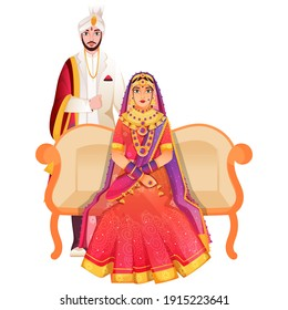 Beautiful Indian Bridal Sit At Sofa And Her Groom Standing On White Background.