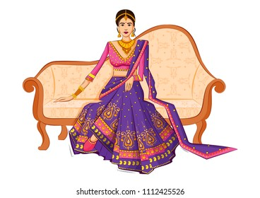 Beautiful Indian Bride in ethnic dress Lengha for wedding Day. Vector illustration