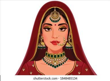 Beautiful Indian Bride Portrait vector illustration