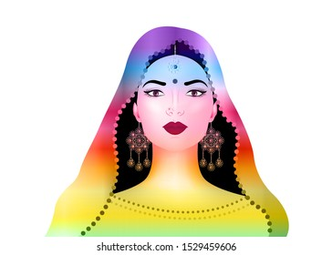 Beautiful indian brunette young woman in colorful sari with luxury gold jewelry. Bollywood star traditional fashion. Precious Wedding bride's outfit. Vector illustration isolated or white background