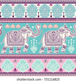 Beautiful Indian elephant seamless pattern. Vector Henna tattoo style. Can be used for textile, greeting business card background, coloring book, phone case print