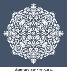 Beautiful Indian floral paisley medallion. Ethnic Mandala.. Vector Henna tattoo style. Can be used for textile, greeting business card background, coloring book, phone case print