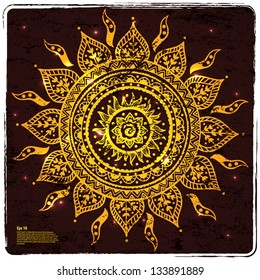Beautiful Indian gold ornament can be used as a design element, invitation or greeting card