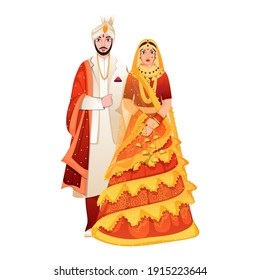 Beautiful Indian Wedding Couple Standing On White Background.