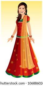 Beautiful Indian woman wearing a traditional Indian outfit