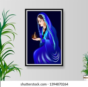 Beautiful Indian women in Traditional Uniform with clay style deepak in hand -wall painting hanging with photo frame on interior wall.