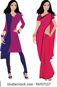 Beautiful indian young woman in colorful sari and salwar kameez -- Highly detailed and no gradients/ mesh