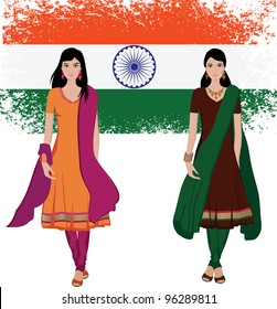 Beautiful indian young woman in colorful salwar kameez with Indian flag background-- Highly detailed and no gradients/ mesh
