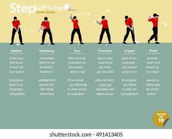 beautiful info graphic flat design of the step of golf swing with copy space
