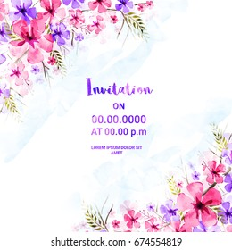 Beautiful Invitation Card design with pink and purple watercolor flowers for Birthday, Wedding, Save the Date, Anniversary and other occasions.