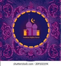 Beautiful Invitation Template Arabian Night Partytemplate Stock