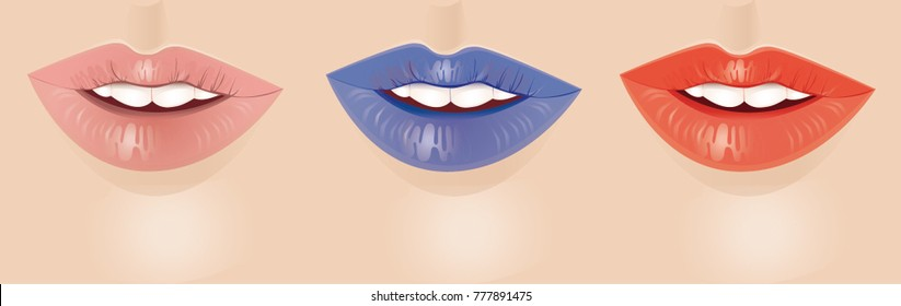Beautiful, inviting female lips with multi-colored lipstick.  Teeth, smile