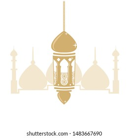Beautiful islamic and arabic background for Muslim Community festival. Ornate vector banner, vintage lanterns for Ramadan wishing. Arabic shining lamps. Outline golden decor in Eastern style. Vector