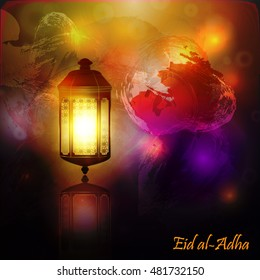 Beautiful islamic, arabic  lantern for Muslim Community festival. Arabic lamp on bright colorful background. Eid Mubarak design for greeting card, banner, invitation, flyer. Vector illustration.