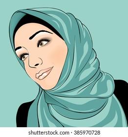 Beautiful Islamic woman in hijab. Animation