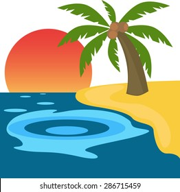 Beautiful island and palm tree with coconut.