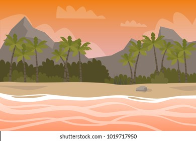 Beautiful island sunset with palm trees, orange water and waves.