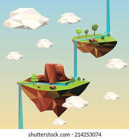 Beautiful islands floating in the sky. Vector Illustration.