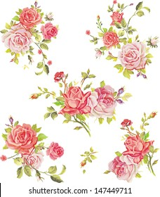 Beautiful isolated flowers on the white background. Set of different beautiful floral design elements