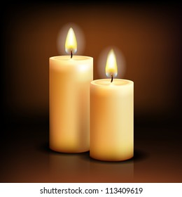Beautiful Isolated realistic candles at dark. Vector illustration