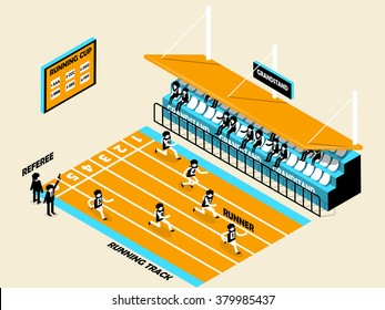 beautiful isometric design of athletics, running track, grandstand, runner and referee, athletics isometric design