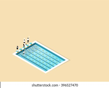 beautiful isometric design of swimming pool with copy space