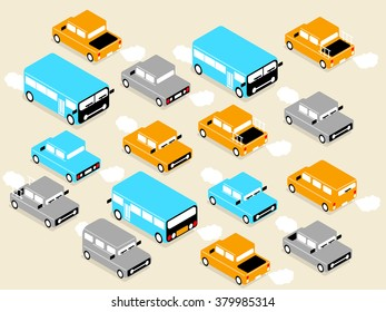 beautiful isometric design of vehicle car on the road,on the road design concept