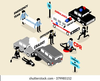 beautiful isometric style concept design of emergency situation scene. car crash, CPR performing and police officer