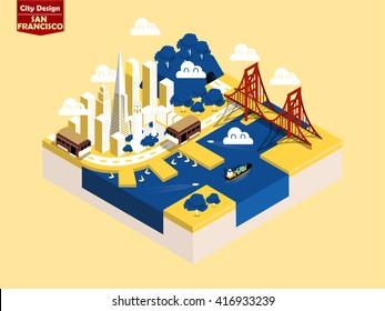 beautiful isometric style design concept of San Francisco city, America ,San Francisco landmark isometric design concept