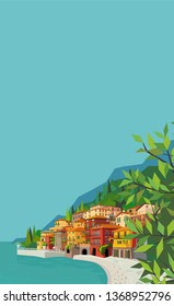 Beautiful italian landscape with water, houses, mountains. Mediterranean background for vertical banners and posters.