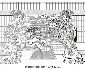 Japan Coloring Page Images, Stock Photos & Vectors | Shutterstock